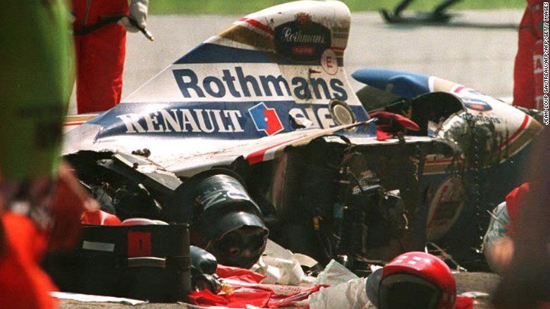 Болид Айртона Сенны после ужасающей аварии в Сан Марино, 1994
