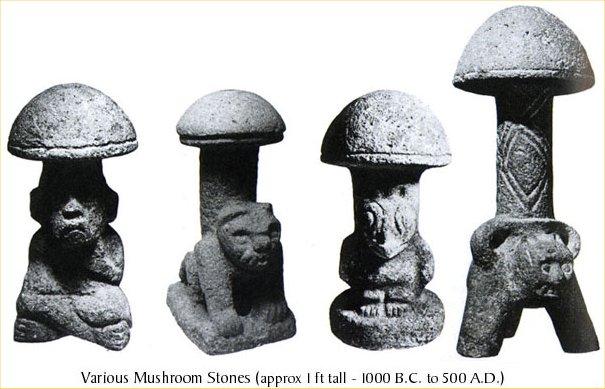 Статуэтки в форме грибов, созданные индейцами майя (1000 до н. э. — 500 н. э.)