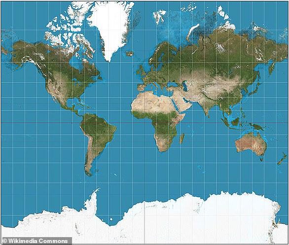 Карта мира, созданная по проекции Меркатора