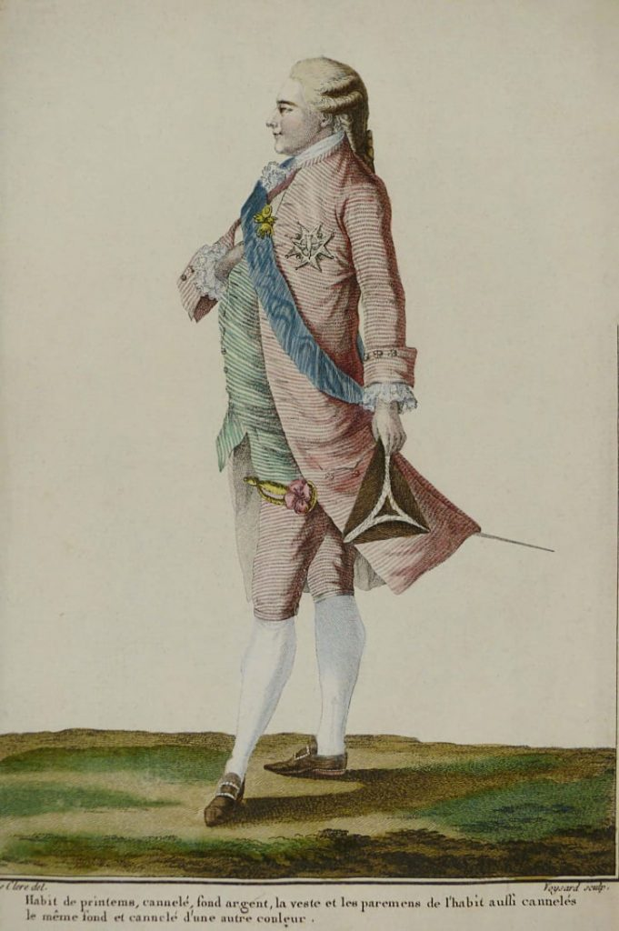 Мужчина в розовом, рисунок 1779 года