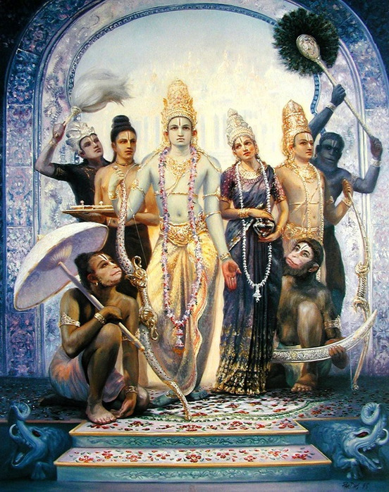 Рама с женой Ситой, братьями, обезьяньими предводителями и их жёнами с большой торжественностью вступили в город, где Рама был помазан на царство.