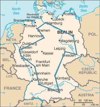 Оптимальный маршрут коммивояжёра через 15 крупнейших городов Германии. Указанный маршрут является самым коротким из всех возможных 43 589 145 600 вариантов.