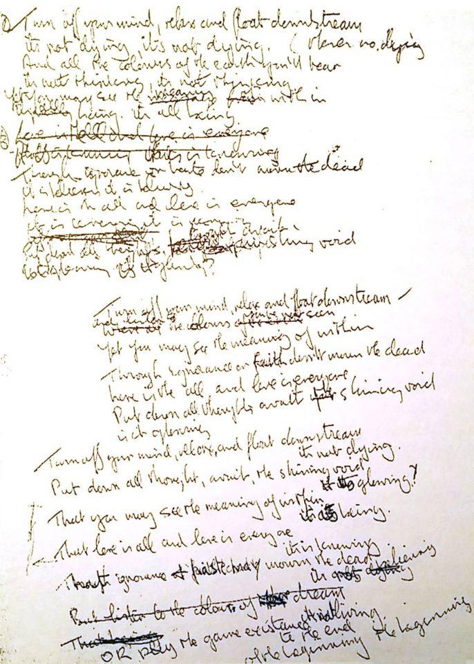 Леннон сочинил текст к песне «Tomorrow Never Knows» в январе 1966 года