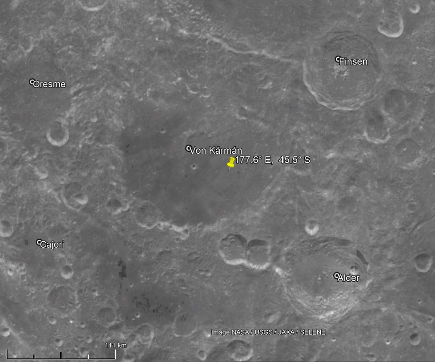 Место прилунения «Chang'e 4» - кратер фон Карман