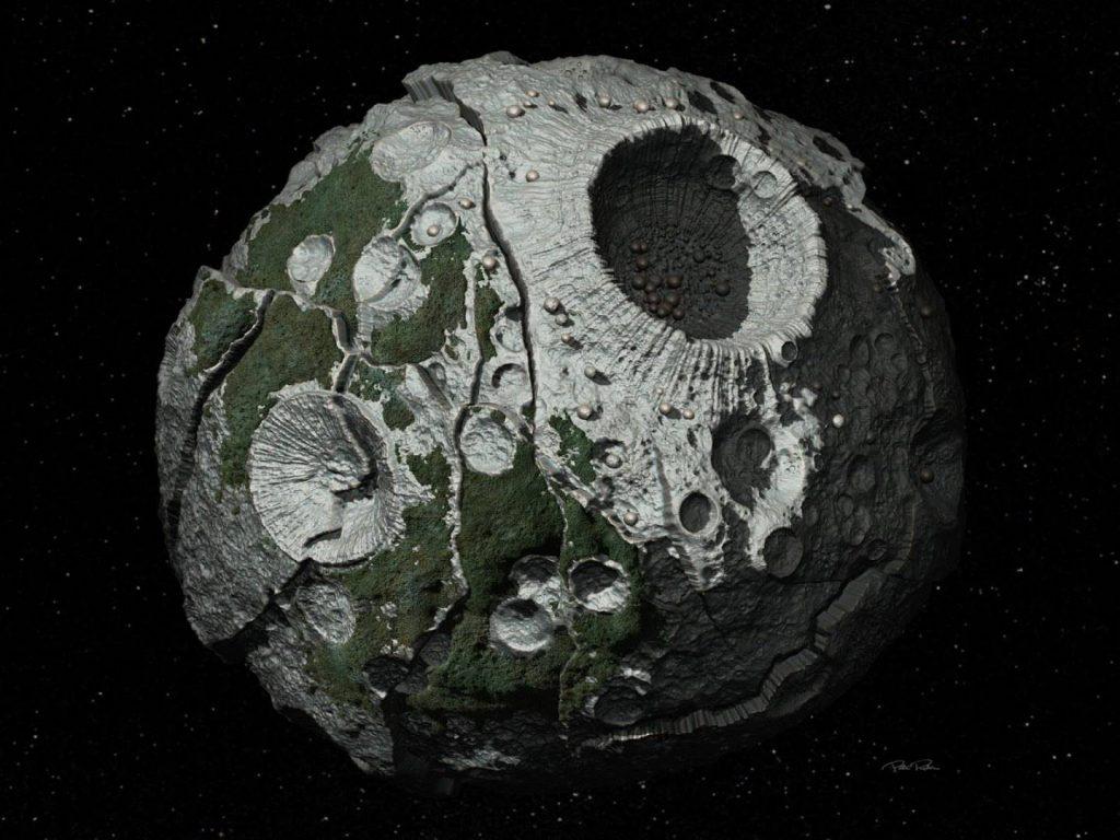 Психея - астероид размером со штат Массачусетс, один из самых массивных металлических астероидов главного пояса. Отличается высочайшим содержанием металлов в породе.