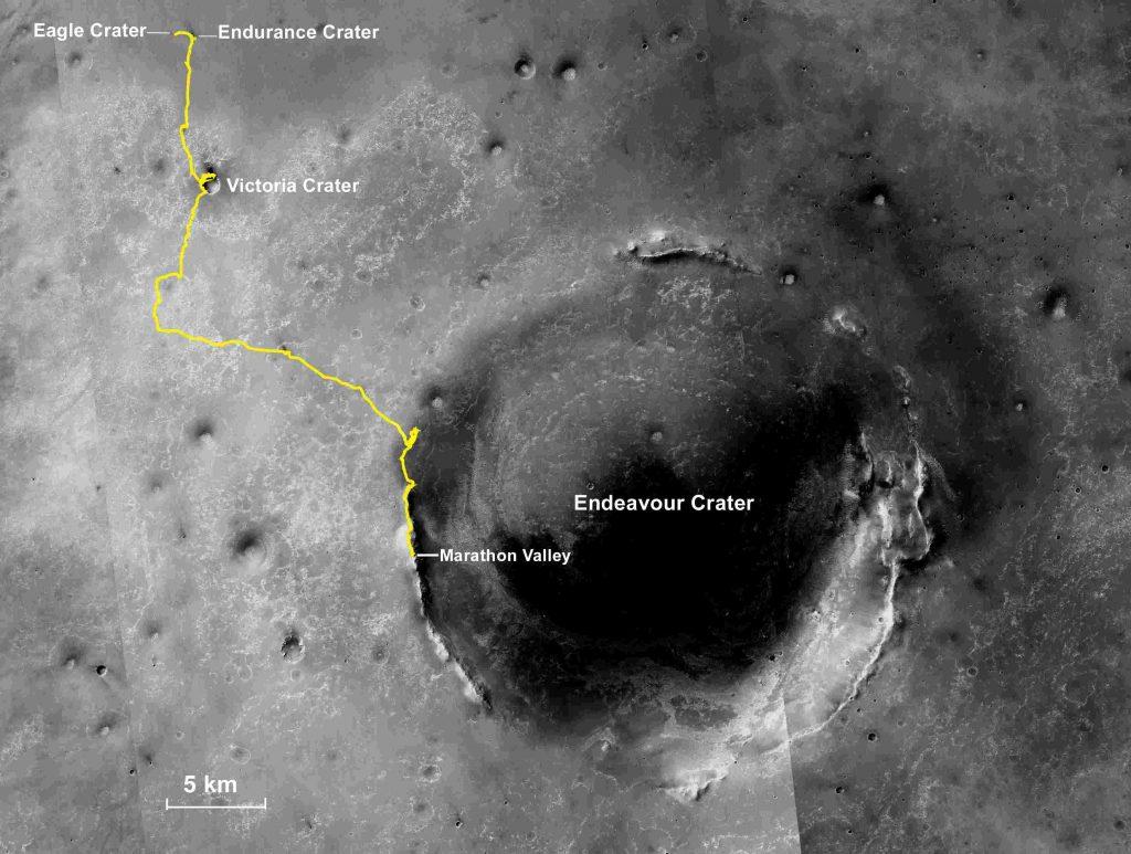 Карта пути, пройденного марсоходом Opportunity