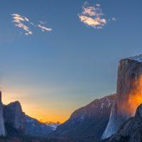 «Огненный водопад» — уникальный природный феномен в долине Йосемити