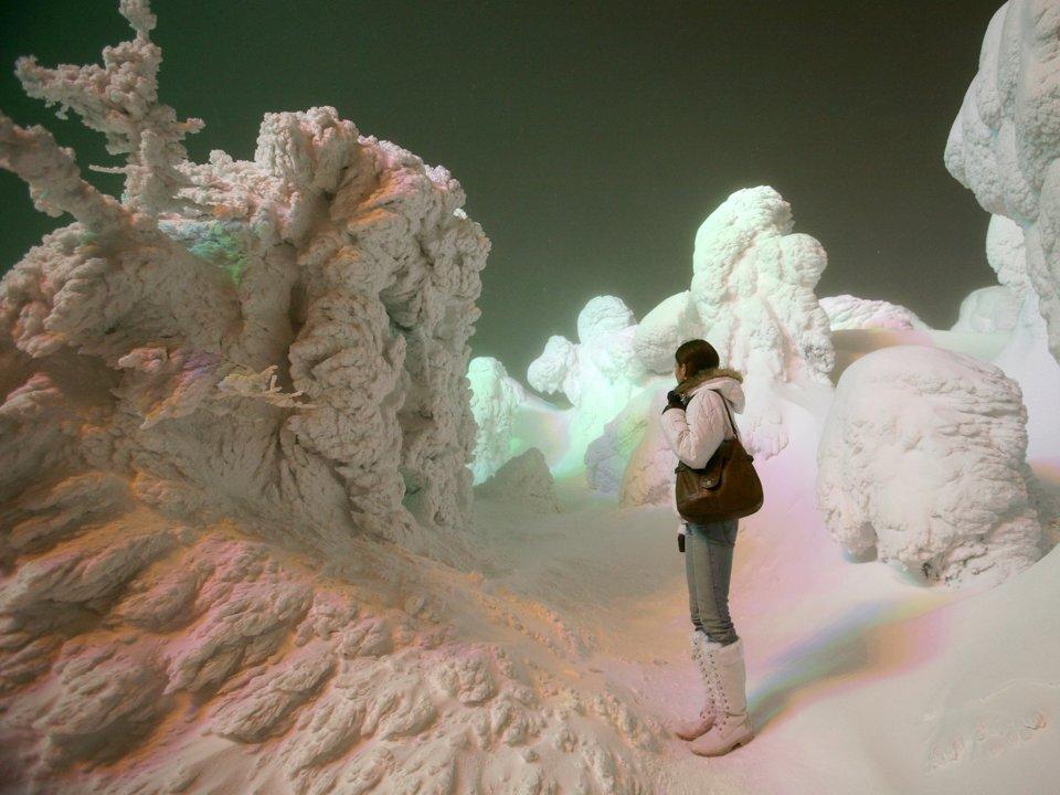 """Знаменитые """"снежные монстры"""" - застывшие подо льдом и снегом деревья, напоминающие диковинных существ"""