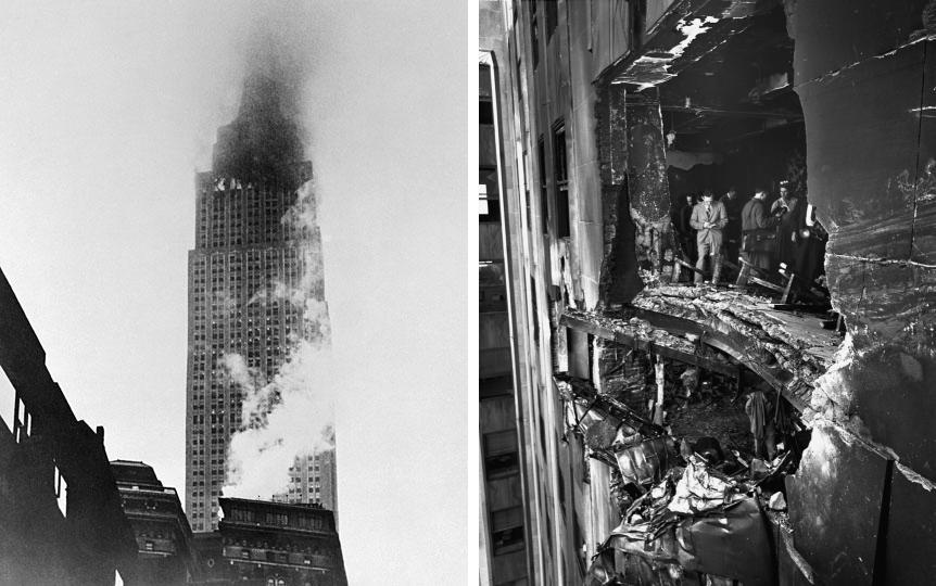 В 1945 году в Эмпайр-стейт-билдинг врезался бомбардировщик B-25. В результате столкновения была повреждена шахта одного из лифтов. Кабина рухнула с 38 этажа, женщина-оператор, находившаяся в то время внутри, выжила.