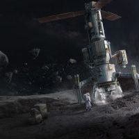 Космическая станция внутри астероида