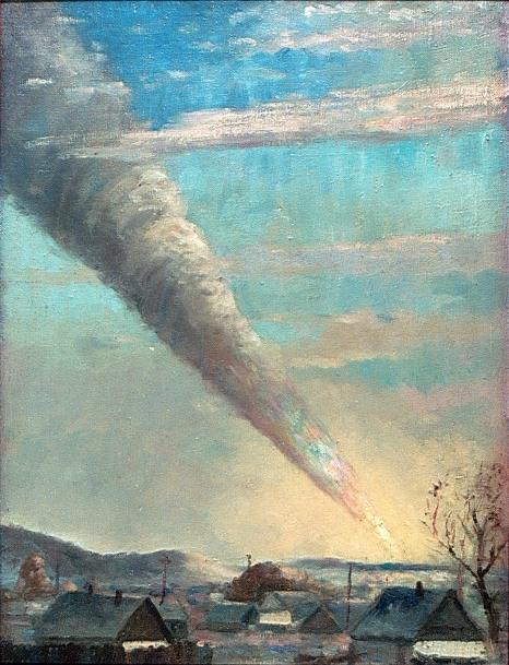 Художник Петр Медведев из Имана стал свидетелем падения Сихотэ-Алинского метеорита во время рисования картины с местным пейзажем и запечатлел метеорит на ней.
