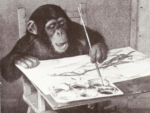 Выставка картин шимпанзе-художника по имени Конго