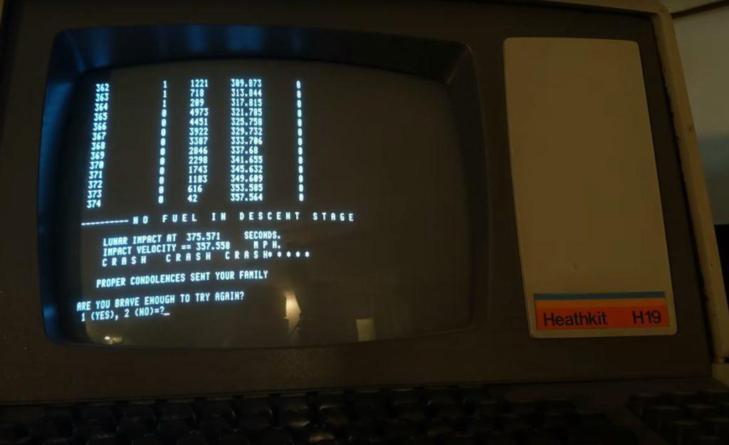 Компьютерная игра Lunar Lander на миникомпьютере SEL 810A