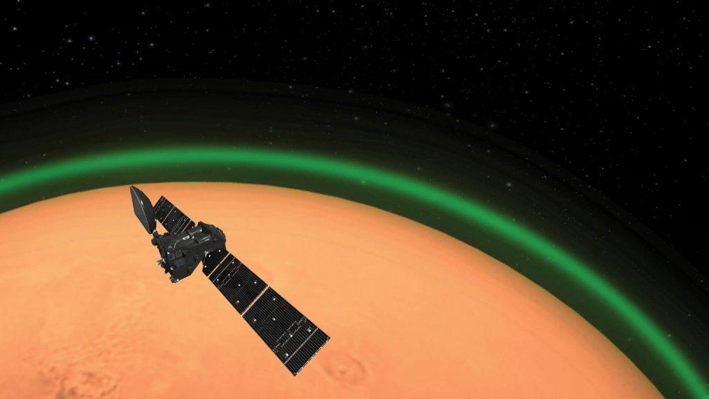 Учёные зафиксировали зелёное кислородное свечение в атмосфере Марса