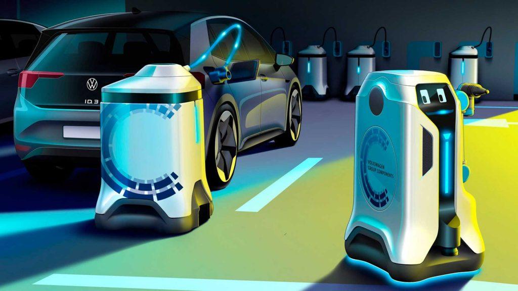 Volkswagen представил робота-зарядку для электромобилей