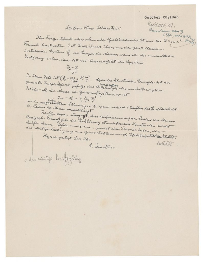 E = mc²: письмо Эйнштейна продали за $1200000
